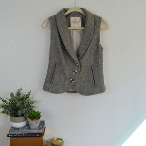 Modcloth Myrtlewood Herringbone Wool Vest